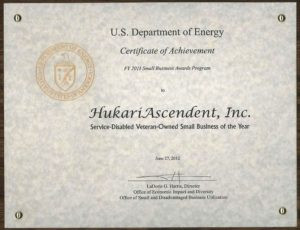 Dept. of Energy Certificate of Achievement