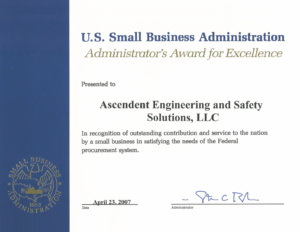 2007 U.S. SBA Award for Excellence